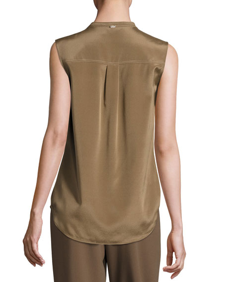 Crystal-Trim Sleeveless Blouse, Taupe