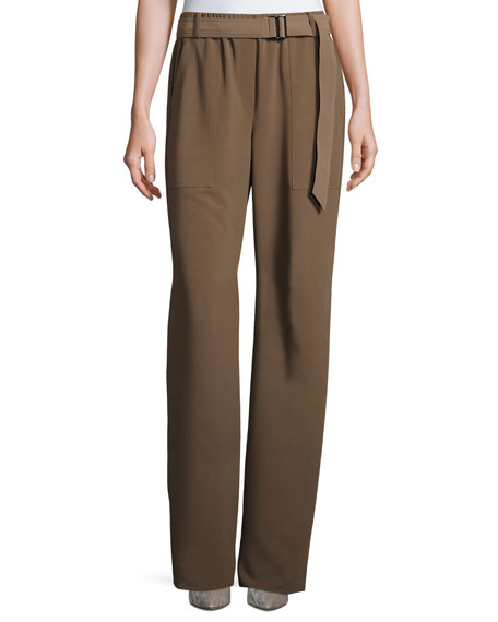 St. John Collection Belted Draped Suiting Pants, Taupe