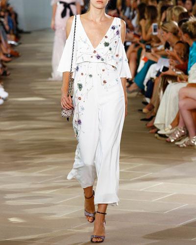 Embroidered V-Neck Cold-Shoulder Jumpsuit, Silk White