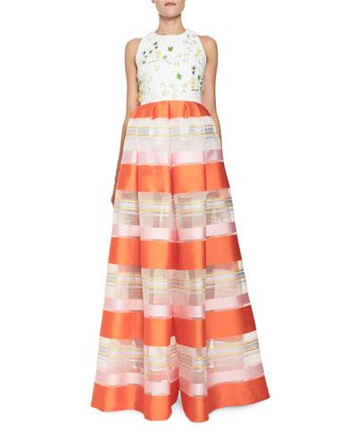 Striped Organza Sleeveless Jumpsuit, Orange Pattern