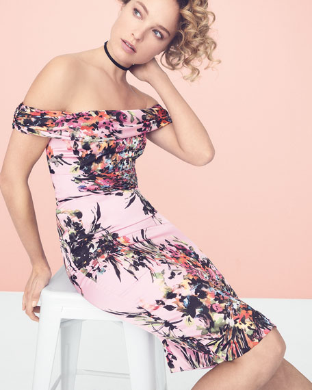 Off-the-Shoulder Floral Sheath Dress, Pink