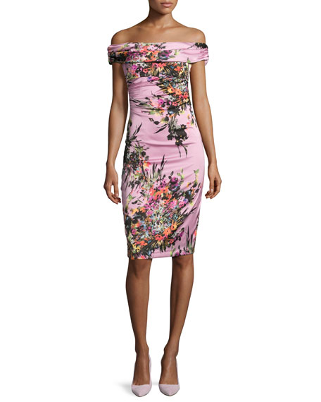 David Meister Off-the-Shoulder Floral Sheath Dress, Pink