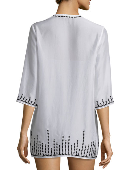 Embroidered Chiffon Short Tunic Coverup