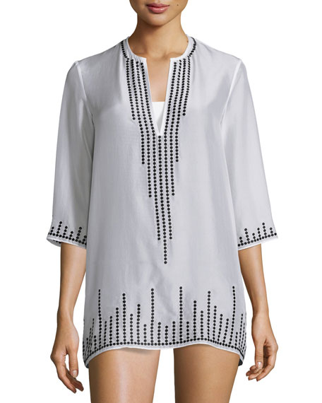 Marie France Van Damme Embroidered Chiffon Short Tunic