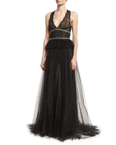 Sleeveless V-Neck Tulle Peplum Gown, Noir