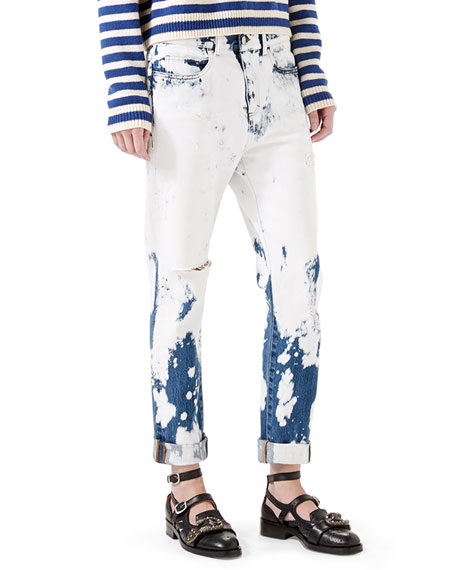 Gucci Hand-Bleached Denim Pants, White