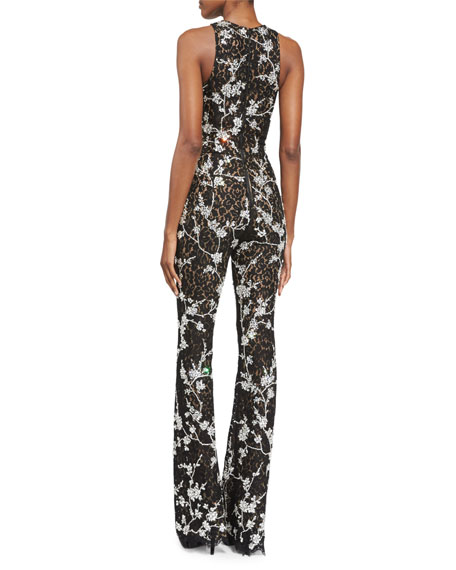 Floral-Lace Flare-Leg Jumpsuit, Black