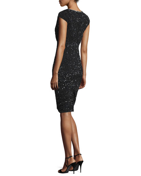 Fleur Cap-Sleeve Sequined Cocktail Sheath Dress, Black