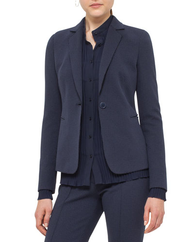 Waffle Jersey One-Button Blazer, Blue Denim/Black