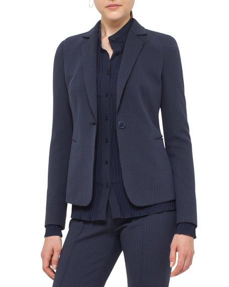 Akris punto Waffle Jersey One-Button Blazer, Blue Denim/Black