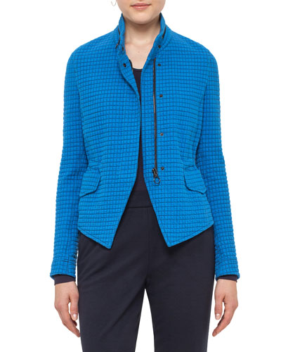 Stand-Collar Jacquard Jacket, Azure Online Cheap