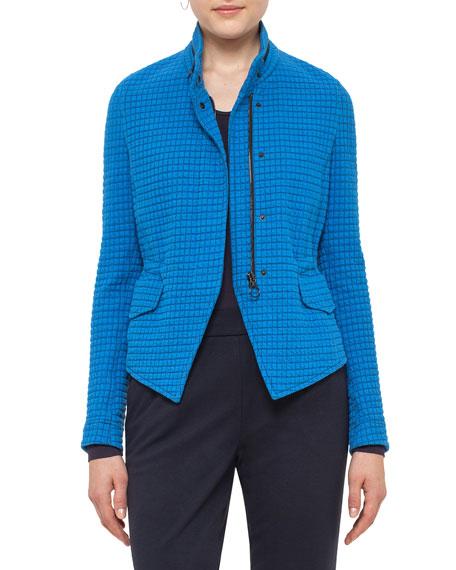 Akris punto Stand-Collar Jacquard Jacket, Azure