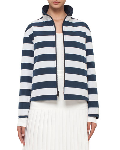 Reversible Striped Hooded Jacket, Neutral Pattern