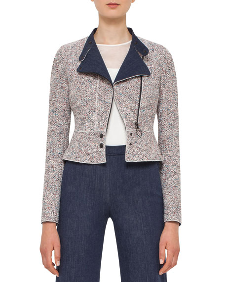 Akris punto Tweed Denim Moto Jacket, Multi