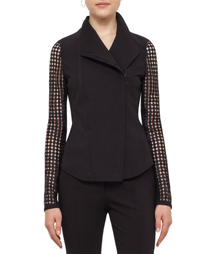 Lace-Sleeve Asymmetric-Zip Jacket, Black