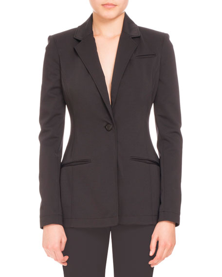 Acacia One-Button Blazer, Black