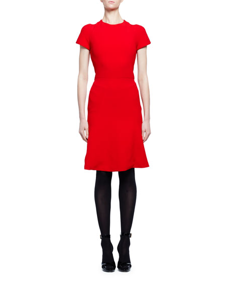 Alexander McQueen Short-Sleeve Crewneck Flare-Hem Dress