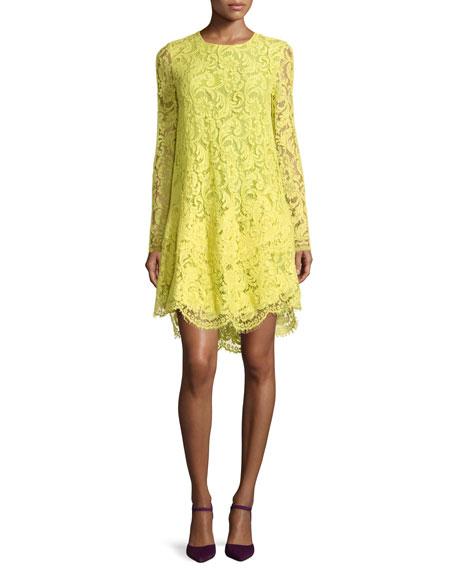 Adam Lippes Long-Sleeve Trapeze Lace Dress, Citron