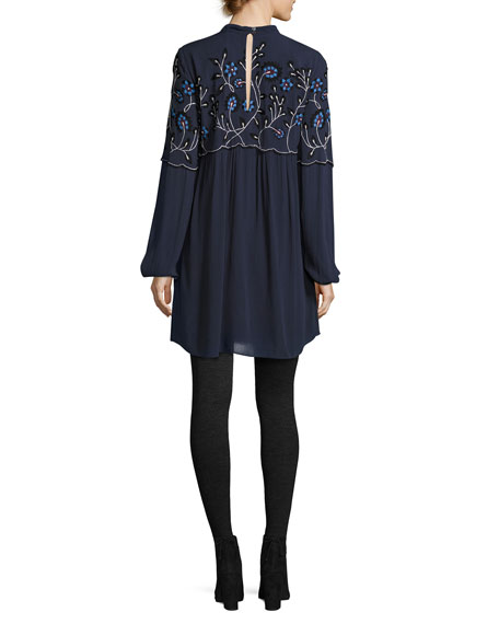 Sadie Embroidered Shift Dress, Blue
