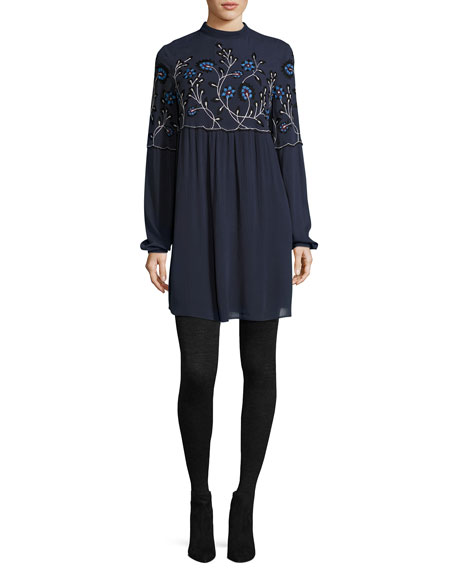Parker Sadie Embroidered Shift Dress, Blue