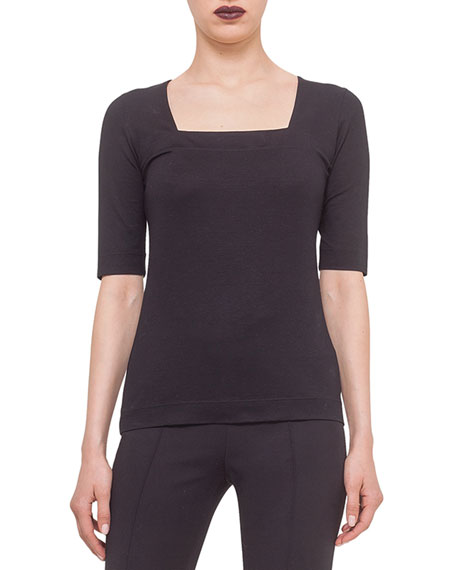 Square-Neck Jersey Top