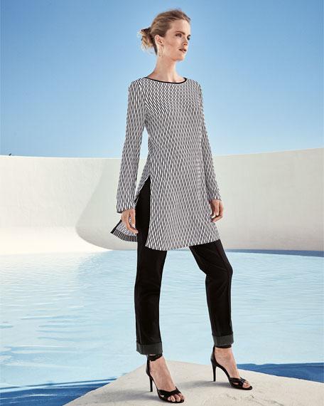Long-Sleeve Printed Knit Tunic, Multi, Petite