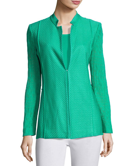 Lace-Sleeve Knit Jacket, Green