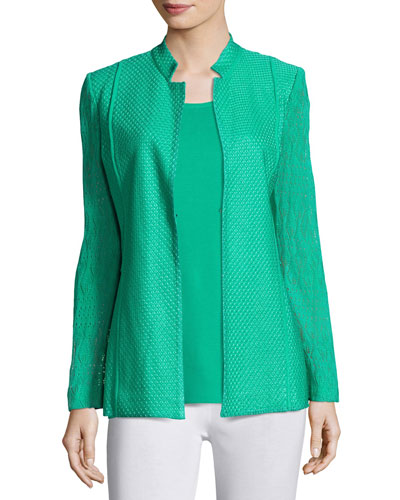 Lace-Sleeve Knit Jacket, Green Compare Price