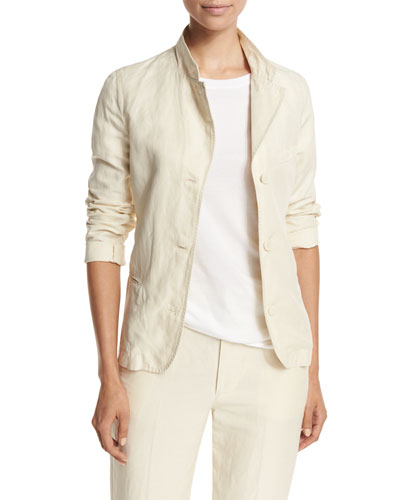 Shrunken Linen-Blend Blazer, Tan Onsale