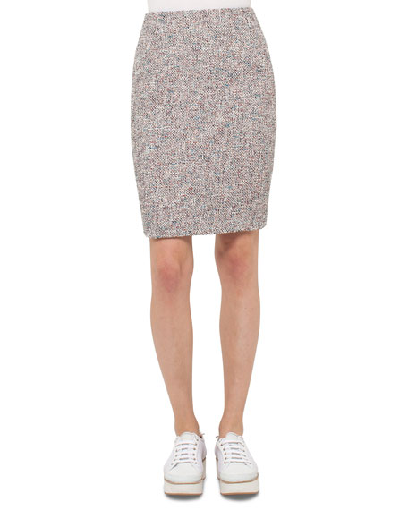 Akris punto Tweed Pencil Skirt, Orange Pattern
