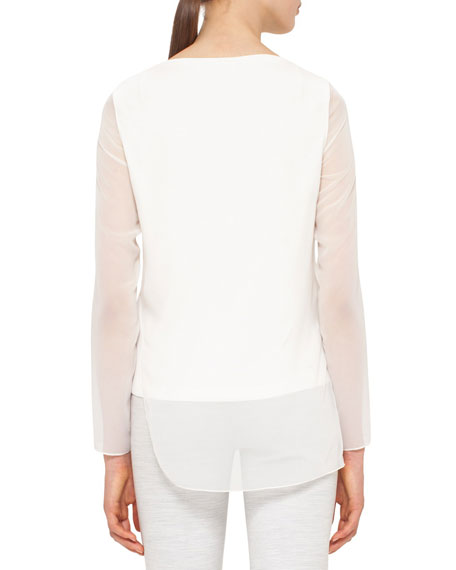 Sheer-Sleeve Layered Top, Cream
