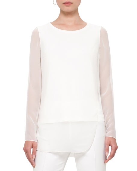 Akris punto Sheer-Sleeve Layered Top, Cream