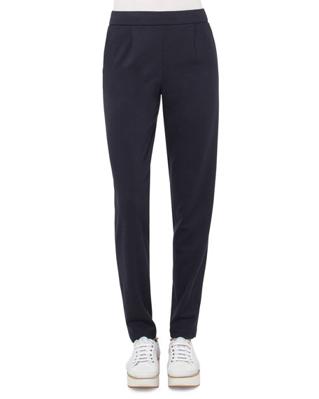 Akris punto Straight-Leg Pull-On Pants, Deep Blue