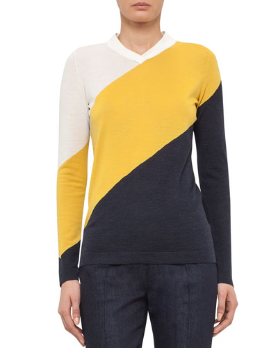 Tricolor Long-Sleeve Knit Sweater, Cream/Xanthoria/Denim