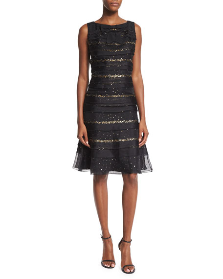 Carolina Herrera Sequin-Striped Tiered Cocktail Dress, Black
