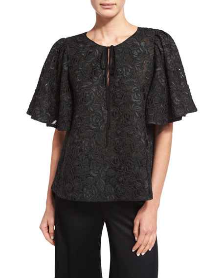 Co Corded-Lace Flutter-Sleeve Tunic, Black