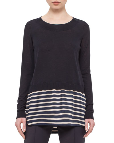 Long-Sleeve Solid/Striped Knit Sweater, Navy