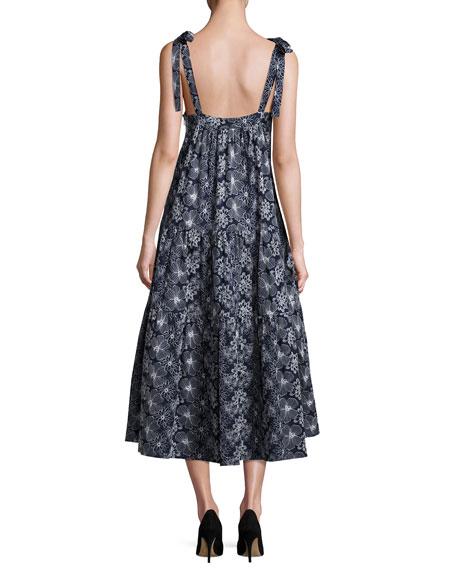 Floral Tie-Strap Tiered Midi Dress, Navy