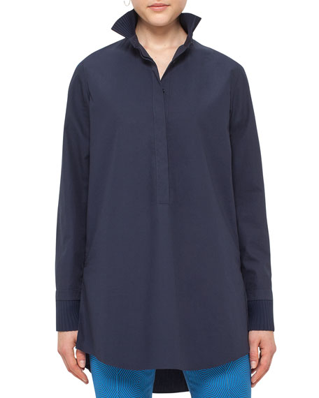 Akris punto Pleated-Trim Cotton Tunic, Slate