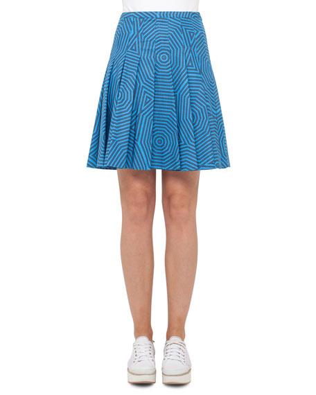 Akris punto Swirl Jacquard Pleated Skirt, Light Blue