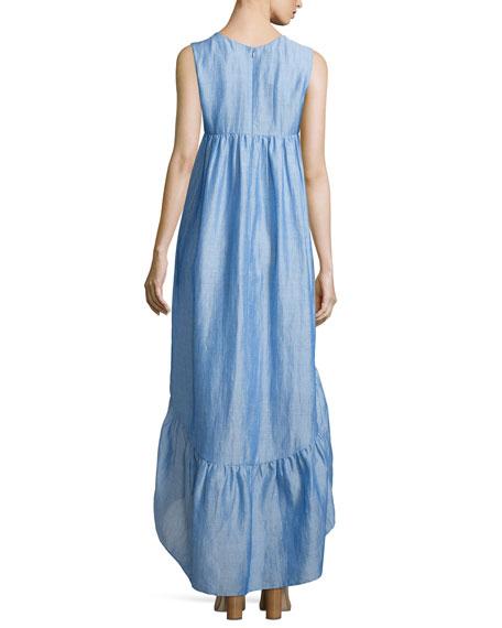 Sleeveless Tiered High-Low Dress, Light Blue