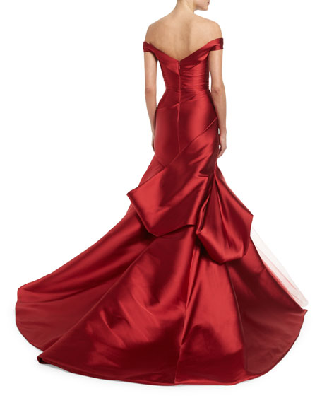 Off-the-Shoulder Ruched Mikado Gown