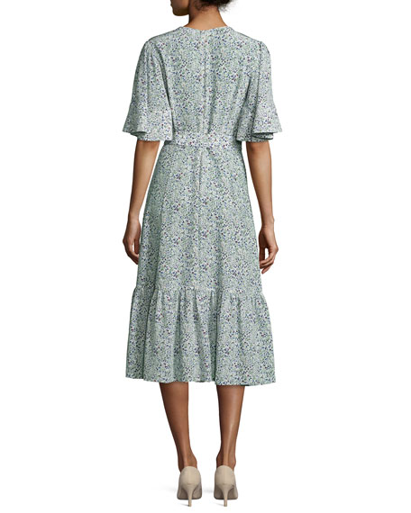 Floral Flutter-Sleeve Ruffled Dress, Multi