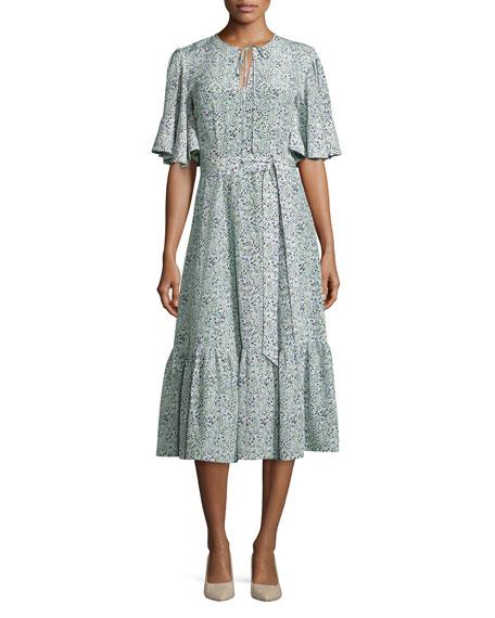Co Floral Flutter-Sleeve Ruffled Dress, Multi