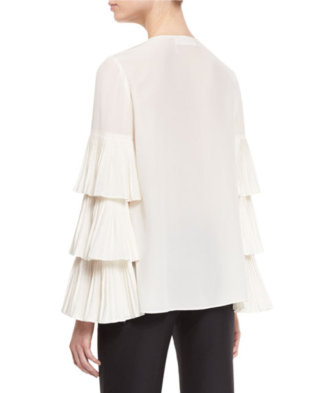 Pleated Tier-Sleeve Silk Blouse, Ivory