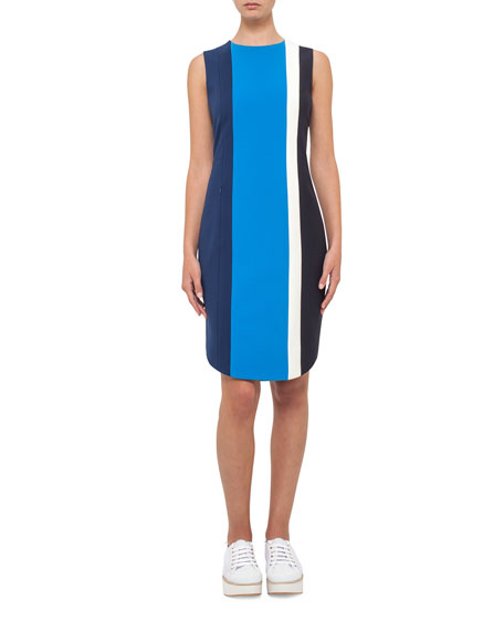 Akris punto Striped Sleeveless Sheath Dress, Blue Pattern