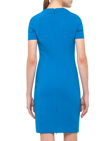 Keyhole Short-Sleeve Sheath Dress, Royal