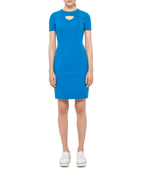 Akris punto Keyhole Short-Sleeve Sheath Dress, Royal