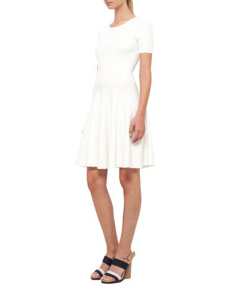 Knit Short-Sleeve Crewneck Dress, Cream