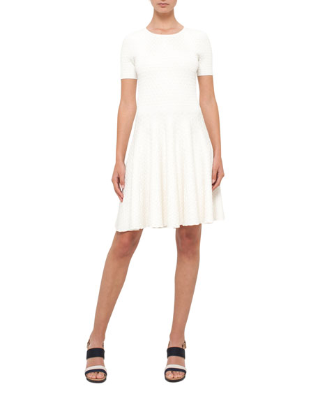Akris punto Knit Short-Sleeve Crewneck Dress, Cream